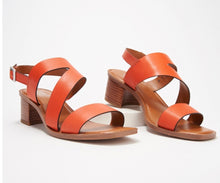 Franco Sarto Leather Heeled Sandals w/ Asymmetrical Strap, Lilah, Tangerine Color - Midtown Bargains