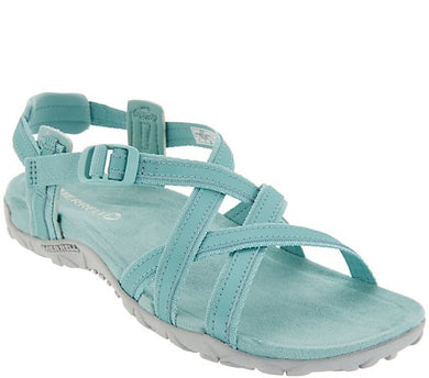Merrell Leather & Textile Sandals, Terran Ari Lattice, Size 6 - Midtown Bargains