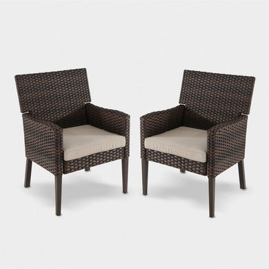 Set of 2 Halsted Wicker Patio Dining Chair *LOCAL PICKUP ONLY - Midtown Bargains
