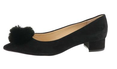 Sole Society Suede Low-Heel Pom Pom Pumps- Mirem, Black, Size 11 - Midtown Bargains