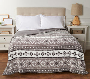 Berkshire Printed Sherpa Blanket with Velvet Soft Reverse - Midtown Bargains