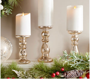 Set of 3 Graduated Mini Mercury Glass Candle Holders / Pedestals - Midtown Bargains