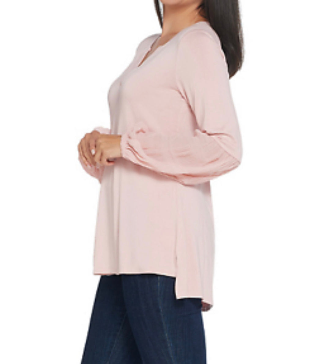 H by Halston Knit Top with Chiffon Blouson go Sleeves Ballet Pink	XX-Small - Midtown Bargains