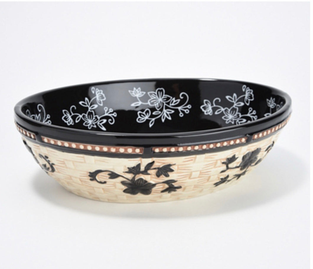 Temptations Floral Lace Basketweave 2-Quart Oval Bowl *LOCAL PICKUP ONLY - Midtown Bargains