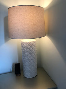 "70% Off - Patterned Ceramic 33"" Statement Lamp, White *LOCAL PICKUP ONLY"