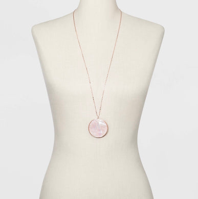 "Mother of Pearl Disc Long 32"" Necklace - Midtown Bargains"