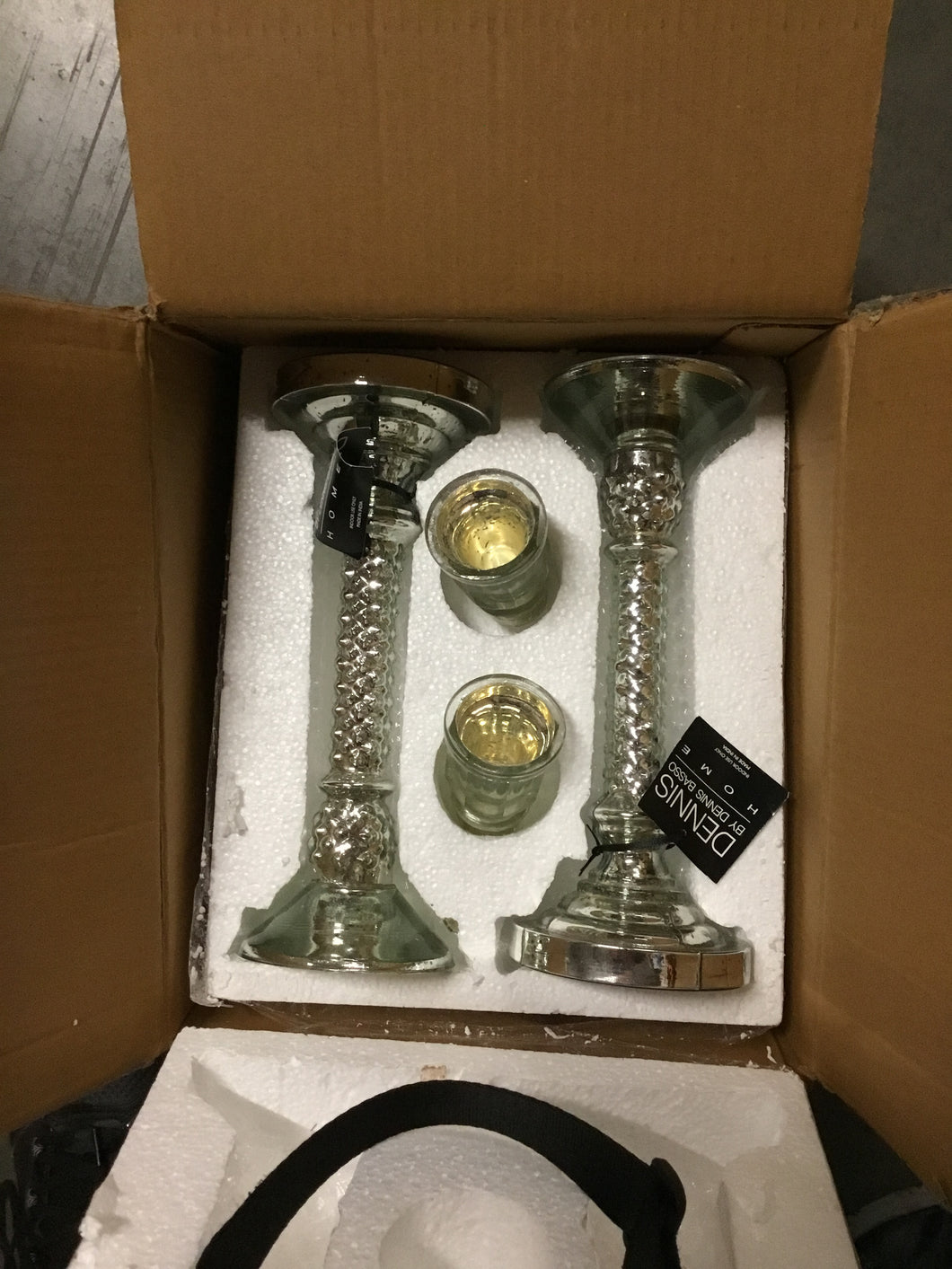 Dennis Basso Set of 2 Mercury Glass Candlesticks 12.5
