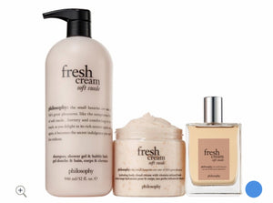 philosophy super-size shower gel, eau de toilette & cloud cream, fresh cream soft suede