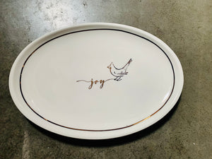 "White Oval Platter Joy Bird Gold Writing 14"" x 9.5"" - Midtown Bargains"