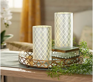 Set of 2 Illuminated Quatrefoil Hurricanes by Valerie Pearl, - Midtown Bargains