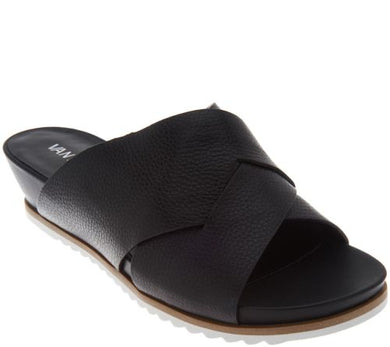 Vaneli Leather Cross Band Low Wedge Slides, Hilde, Size 10 - Midtown Bargains