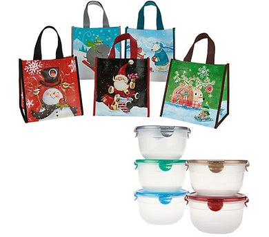 Lock & Lock Set of 5 Bowls with Holiday Gift Bags