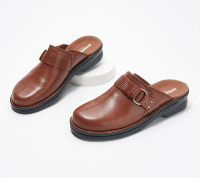 Clearance: 77% Off Clarks Collection Leather Slip-On Clogs Shoes - Patty Lorene - Midtown Bargains