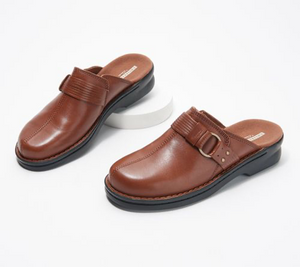 Clearance: 77% Off Clarks Collection Leather Slip-On Clogs Shoes - Patty Lorene