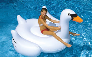 Giant Swan 75-in Inflatable Ride-On Pool Toy - Midtown Bargains