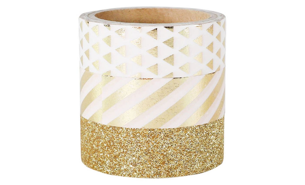Set of 8 3-Count Decorative Washi Tape, Gold - Midtown Bargains