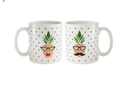 American Atelier His/Her Pineapple Set of 2 Mugs 15oz