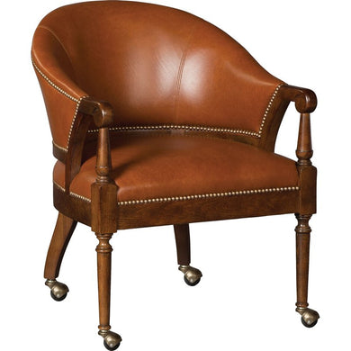 Clearance: 80% Off - Genuine Top Grain Leather Castered Barrel Chair