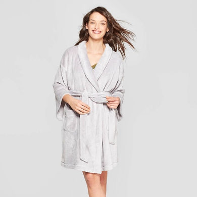 Women's Cozy Robe, Gray - Midtown Bargains