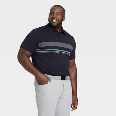 Men's Chest Stripe Golf Polo Shirt, Large