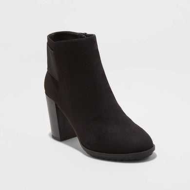 Women's Deanna Microsuede Water Repellent Heeled Fashion Bootie, Various Sizes - Midtown Bargains