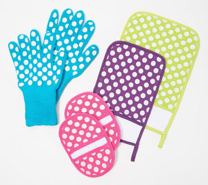 Temptations 6-Piece Oven Safe Glove, Mitt and Trivet Set, Small