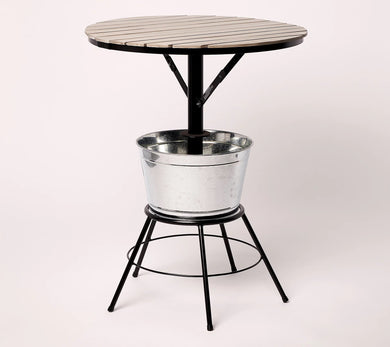 Oasis Round Outdoor Bar Table with Ice Bucket Black,