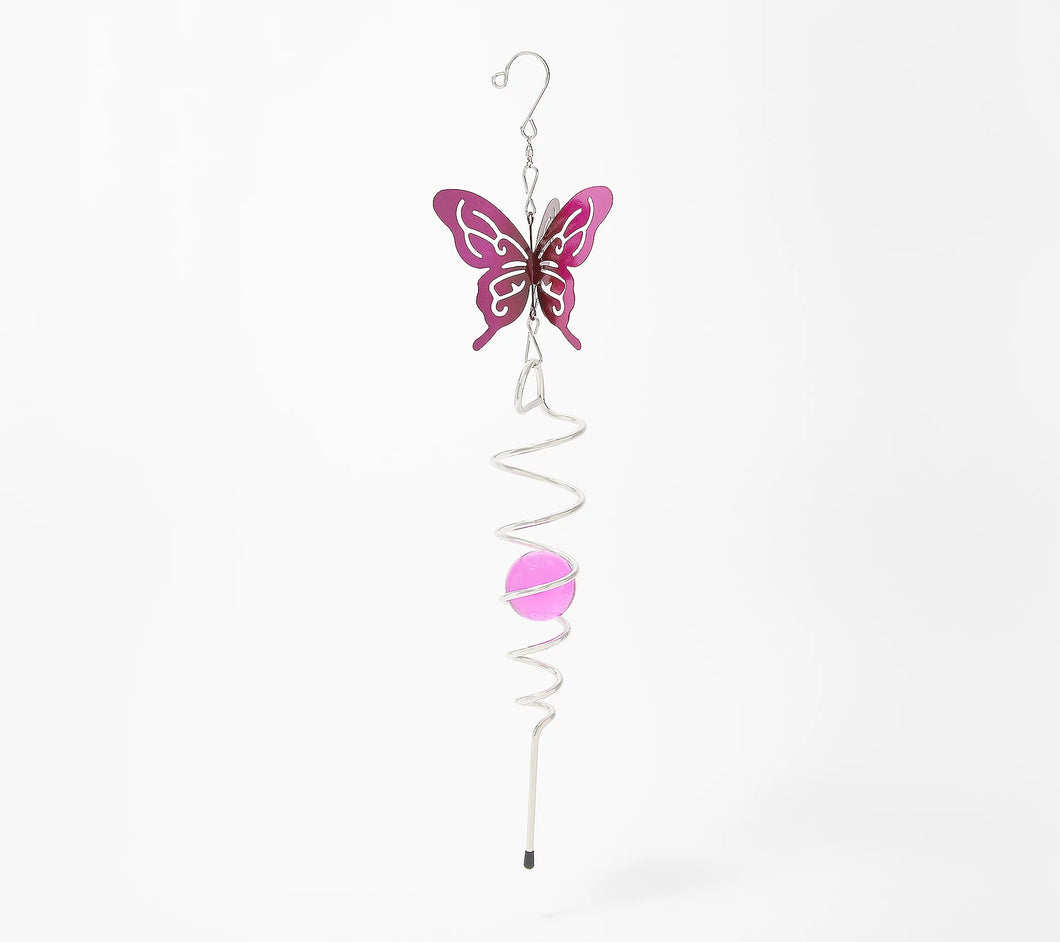 Plow & Hearth Hanging Illusion Swirl Spinner with Glass Ball Butterfly, - Midtown Bargains