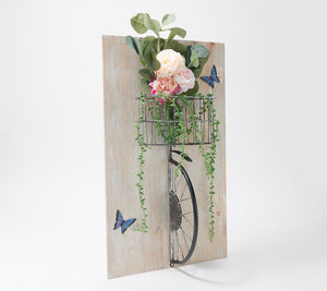 Barbara King Bicycle Wall Art with Flowers in Basket