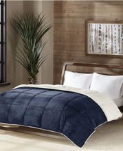 Premier Comfort Reversible Micro Velvet and Sherpa Down Alternative Twin Comforter, Navy - Midtown Bargains