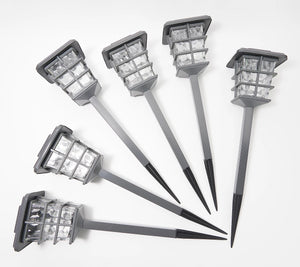 Sterno Home Set of 6 Square Cage Solar Pathway Light Set Brown, - Midtown Bargains
