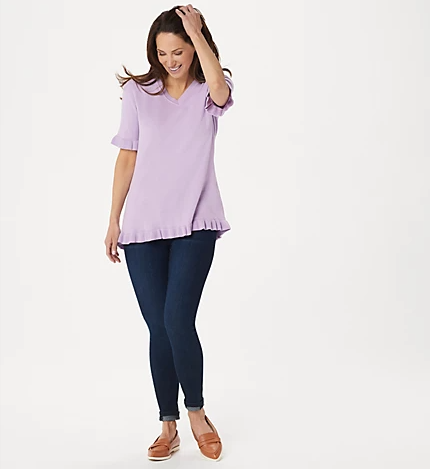 Isaac Mizrahi Live! Elbow-Sleeve Ruffle Hem V-Neck Sweater, Lavender,Large - Midtown Bargains