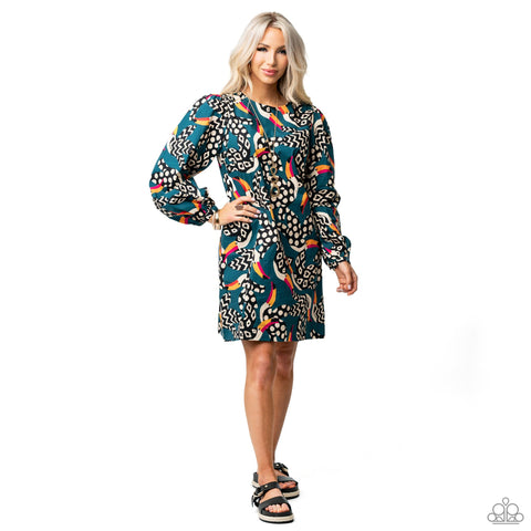 A bold tropical print and heels represent the Paparazzi Dream Vacation 2021 Spring Fashion Trend.