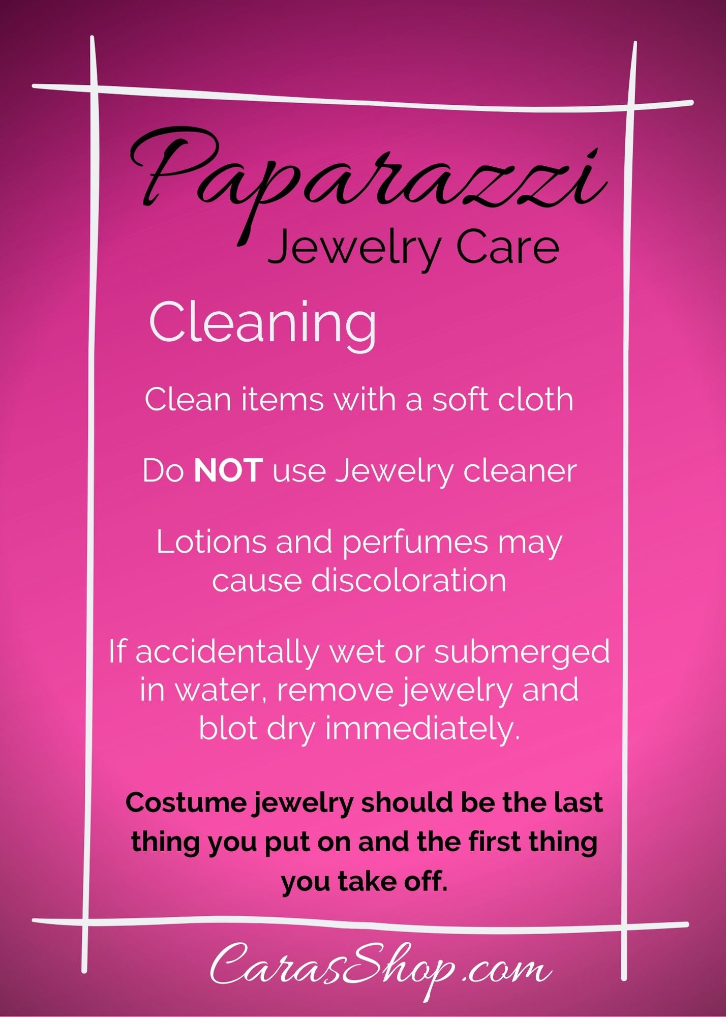 Paparazzi Accessories Jewelry Care Cleaning instructions - CarasShop.com
