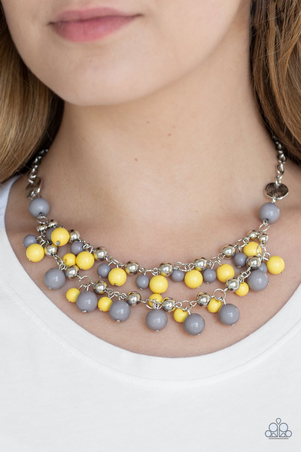 Paparazzi Seaside Soiree Yellow and Gray Necklace