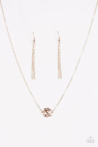 Pleasantly Primrose Rose Gold Necklace Paparazzi Accessories 5 00