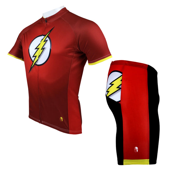 The Flash Detective Comics Super Hero Men's Short/Long-sleeve Cycling Jersey T-shirt Summer Spring Autumn Clothes Sportswear Pro Cycle Clothing Racing Apparel Outdoor Sports Leisure Biking T-shirt  NO.038