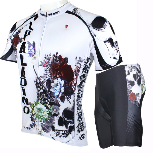 ILPALADINO Flower Blossom&Skull - Bike Exercise Bicycling Pro Cycle Clothing Racing Apparel Outdoor Sports Leisure Biking Shirts Sportswear Quick Dry Shirt -  Short-sleeve / Long-sleeve Men's Summer Cycling Jersey/ Suit  NO.091
