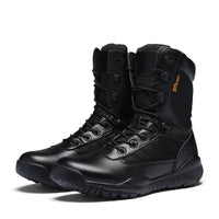 NO.31005 Mens Outdoor High Desert Boots Military Army Style Leather Tactics Waders Climbing Hiking Breathable Wear-resistant Black