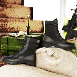 NO.31003 Black/Khaki Mens Outdoor High Military Boots Leather Desert Tactics Waders Fatigues Breathable