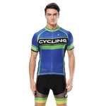 Green-strip CYCLING Letter Blue Cycling Short-sleeve Jersey Biking Shirts Summer NO.818