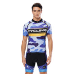 Yellow-strip Blue Camo Cycling Short-sleeve Jersey/Suit Biking Shirts Summer Kit NO.816