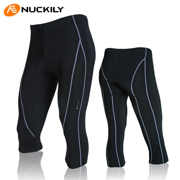 Mens Cycling Black 3/4 Pants Padded Summer Spring Breathable Biking Bottom Tight NO.NS354