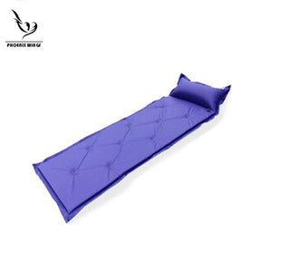 Foldable Lengthwise Single Camping Mat Inflatable Tent Air Mattress with Attached Pillow and Foldable Infinite Splicing Dampproof Waterproof for Outdoor Hiking Backpacking Tour Self-Inflating Sleeping Pad Fishing Beach Green/Blue