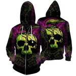 Green Skull Purple Hoodies Sweatshirt Zipper Funny 3D Print Long Sleeve Pullovers Tracksuit Leisure Fashion Hooded Shirts with Pocket Spring Autumn Casual Clothes NO.1270