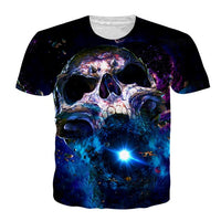 Skull Space Crewneck Men's Crewneck 3D Print Skull Short-sleeve Pullover Tracksuit  Sweater Sweatshirts Leisure Fashion Shirts Casual Clothes T-Shirt Top Tees NO.1281