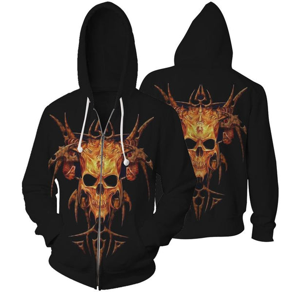 Skull Hoodies Sweatshirt Zipper Funny 3D Print Long Sleeve Pullovers Tracksuit Leisure Fashion Hooded Shirts with Pocket Spring Autumn Casual Clothes NO.1290