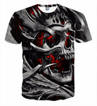 Skull Crewneck Men's Crewneck 3D Print Skull Short-sleeve Pullover Tracksuit  Sweater Sweatshirts Leisure Fashion Shirts Casual Clothes T-Shirt Top Tees NO.1320