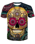 Smiling Skull Crewneck Men's Crewneck 3D Print Skull Short-sleeve Pullover Tracksuit  Sweater Sweatshirts Leisure Fashion Shirts Casual Clothes T-Shirt Top Tees NO.1322