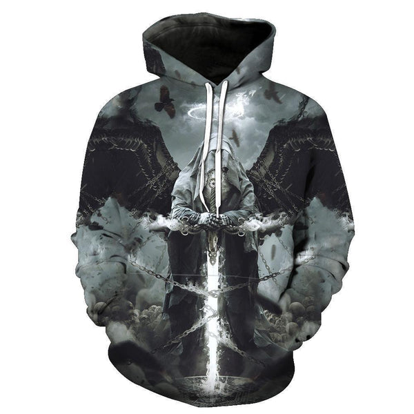 Heaven Skull Black Hoodies Sweatshirt Funny 3D Print Long Sleeve Pullovers Tracksuit Leisure Fashion Hooded Shirts with Pocket Spring Autumn Casual Clothes NO.1343